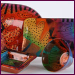 hand painted glass - Mardi Gras